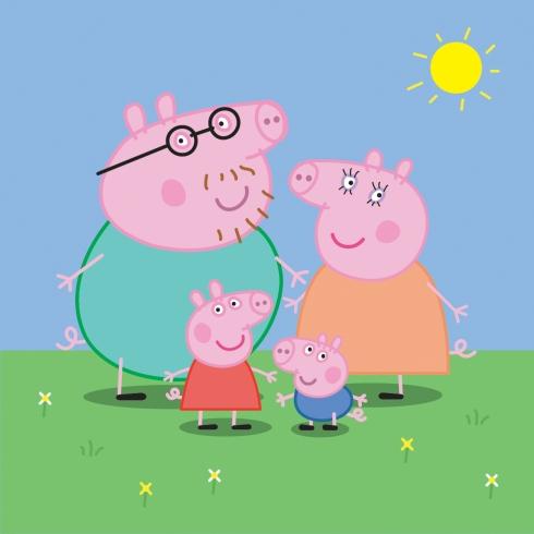 Peppa, mamãe e papai Pig e Geoge