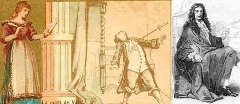 Ilustração da morte de Vatel e seu retrato